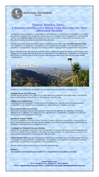 5 Reasons Families Love Taking Costa Rica trips For Their Adventure Vacation!
