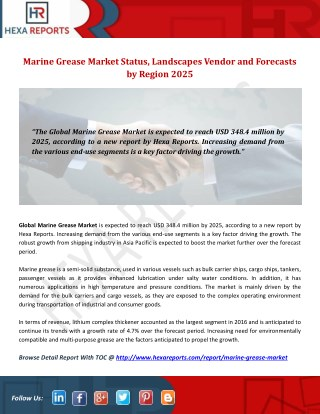Marine Grease Market Status, Landscapes Vendor and Forecasts by Region 2025