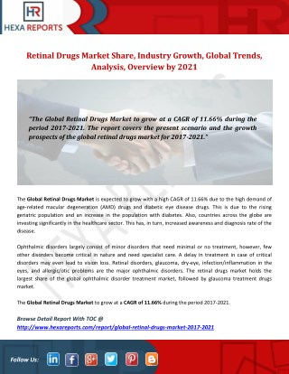 Retinal Drugs Market Share, Industry Growth, Global Trends, Analysis, Overview by 2021