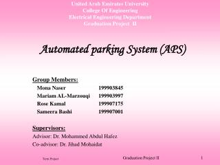 United Arab Emirates University College Of Engineering Electrical Engineering Department Graduation Project  II