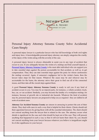 Personal Injury Attorney Sonoma County Solve Accidental Cases Simply
