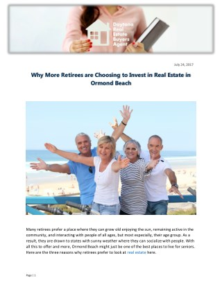 Why More Retirees are Choosing to Invest in Real Estate in Ormond Beach