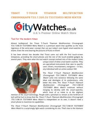 Tissot T-Touch Titanium Multifunction Chronograph T33.7.598.59 T33759859 Mens Watch