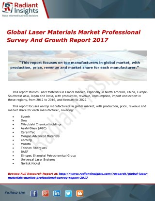 Global Laser Materials Market Professional Survey And Growth Report 2017