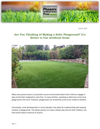 Are You Thinking of Making a Safer Playground? It's Better to Use Artificial Grass