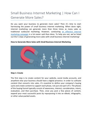 Small Business Internet Marketing | How Can I Generate More Sales?