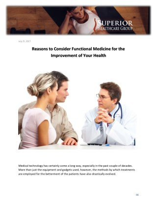 Reasons to Consider Functional Medicine for the Improvement of Your Health