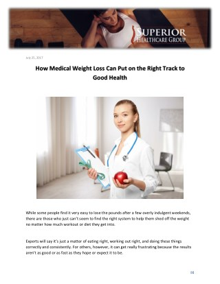 How Medical Weight Loss Can Put on the Right Track to Good Health