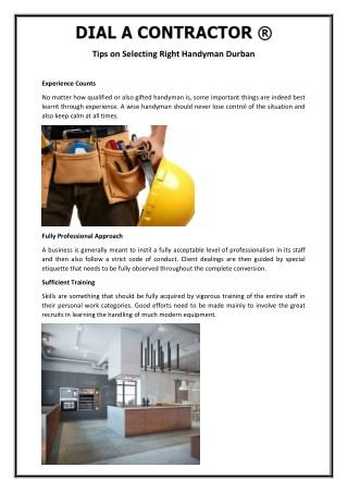 Tips on Selecting Right Handyman Durban