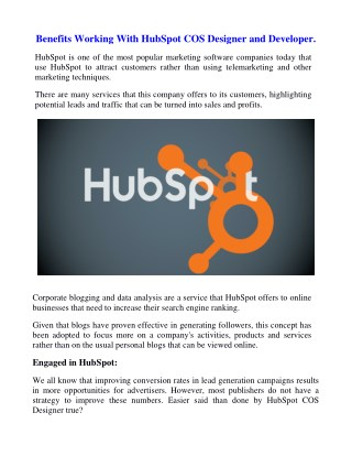 Benefits Working With HubSpot COS Designer and Developer