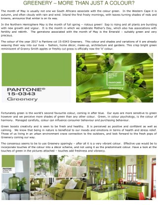 GREENERY – MORE THAN JUST A COLOUR