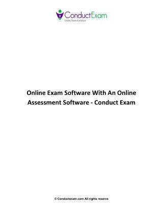 Online Exam Software With An Online Assessment Software - Conduct Exam