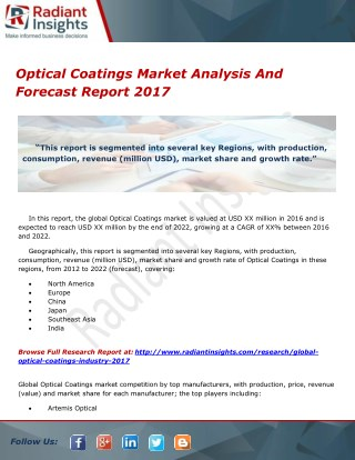 Optical Coatings Market Analysis And Forecast Report 2017