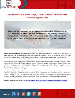 Agrochemicals Market Scope, Trends Analysis and Research Methodology by 2025