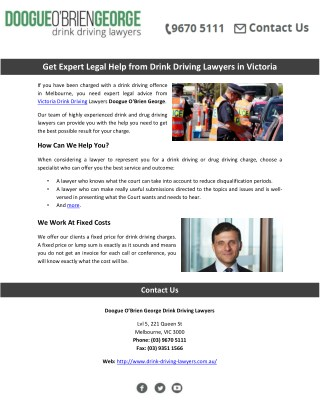 Get Expert Legal Help from Drink Driving Lawyers in Victoria