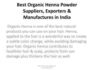 Best Organic Henna Powder Suppliers, Exporters & Manufactures in India