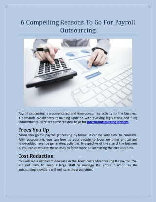 6 Compelling Reasons To Go For Payroll Outsourcing