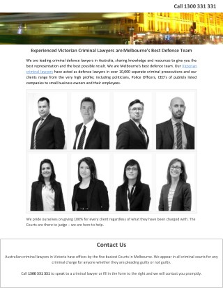 Experienced Victorian Criminal Lawyers are Melbourne's Best Defence Team