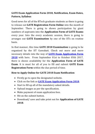 GATE Application Form 2018 Dates