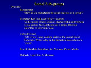 Social Sub-groups