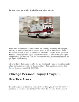 Personal Injury Lawyer Glenview IL | Personal Injury Attorney