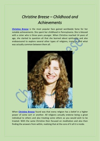 Christine Breese – Childhood and Achievements