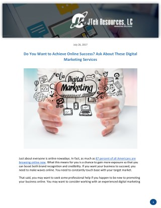 Do You Want to Achieve Online Success? Ask About These Digital Marketing Services