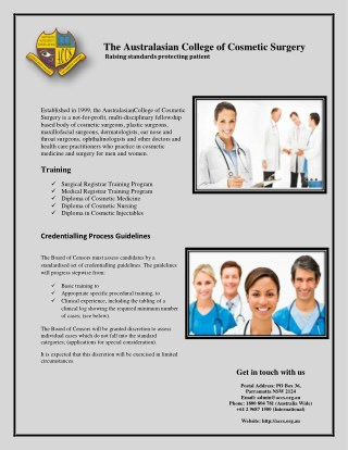 Cosmetic Surgery Training Courses