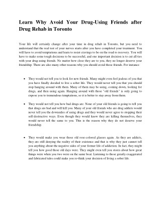 Learn Why Avoid Your Drug-Using Friends after Drug Rehab in Toronto
