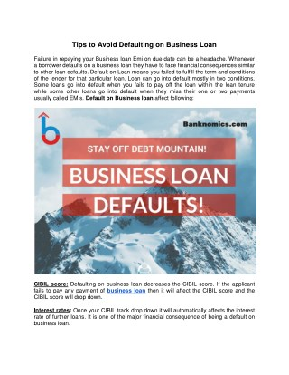 Tips to Avoid Defaulting on Business Loan