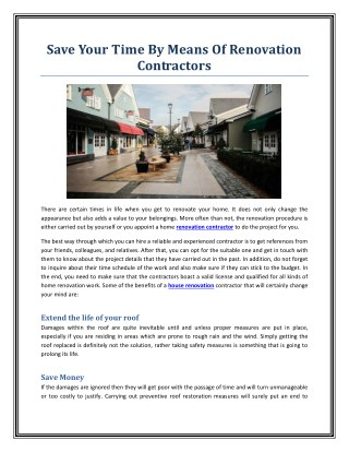 Save Your Time By Means Of Renovation Contractors