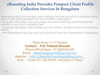 Prospect Client Profile Collection Services In Bengaluru