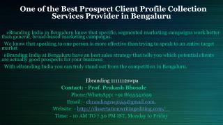 Best Prospect Client Profile Collection Services Provider in Bengaluru