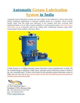 Automatic Grease Lubrication System in India