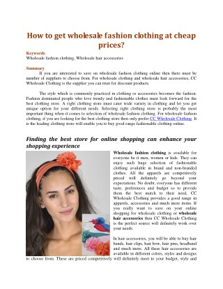How to get wholesale fashion clothing at cheap prices?