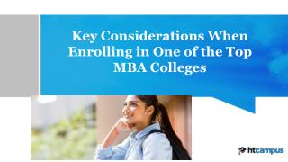 Key Considerations When Enrolling in One of the Top MBA Colleges