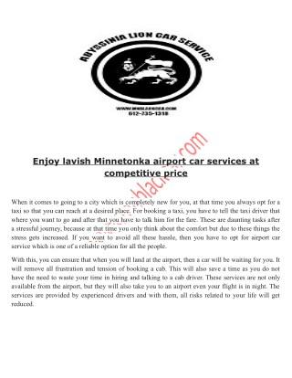 Book online Minnetonka airport car service.