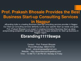 Prof. Prakash Bhosale Provides the Best Business Start-up Consulting Services in Nagpur