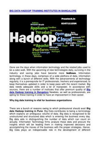 big data hadoop training in bangalore