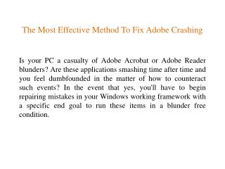 The Most Effective Method To Fix Adobe Crashing