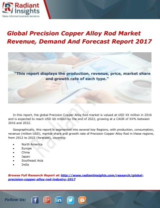 Global Precision Copper Alloy Rod Market Size, Price And Share Report 2017