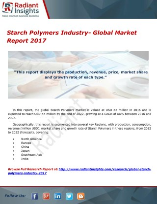 Starch Polymers Industry- Global Market Report 2017