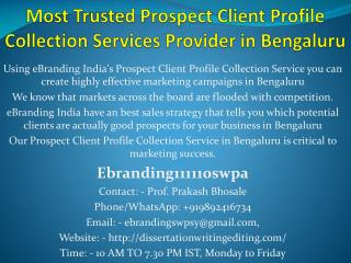 Most Trusted Prospect Client Profile Collection Services Provider in Bengaluru