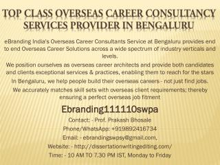 Top Class Overseas Career Consultancy Services Provider in Bengaluru