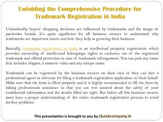 Unfolding the Comprehensive Procedure for Trademark Registration in India