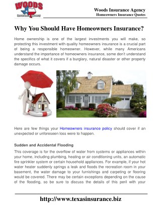 Why You Should Have Homeowners Insurance?