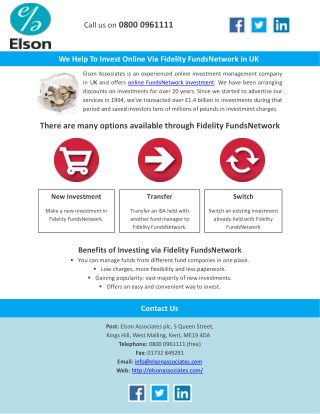 We Help To Invest Online Via FidelityFunds Network in UK