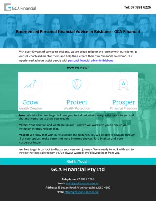 Experienced Personal Financial Advice in Brisbane - GCA Financial