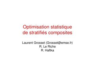 Optimisation statistique de stratifiés composites