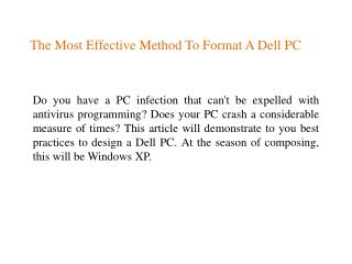 The Most Effective Method To Format A Dell PC